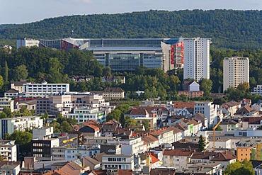 View over Kaiserslautern towards the Fritz-Walter-Stadion stadium on the Betzenberg hill, home to the 1. FC Kaiserslautern Bundesliga soccer club, Palatinate region, Rhineland-Palatinate, Germany, Europe