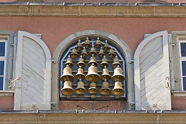 Glockenspiel carillon on the Neues Rathaus city hall, Lindau, Baden-Wuerttemberg, Germany, Europe