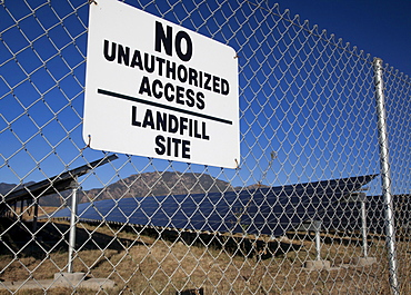 A solar photovoltaic facility, built on top of a former landfill at the U.S. Army's Fort Carson uses contaminated land to generate renewable energy and generates 3, 200 megawatt-hours of power every year, Colorado Springs, Colorado, USA