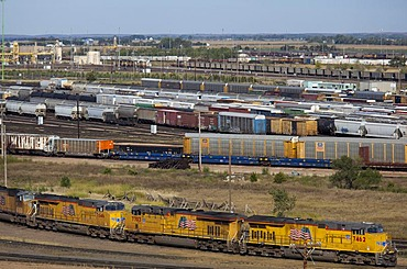 The Union Pacific Railroad's Bailey Yard, the largest rail yard in the world which handles 14, 000 rail cars every day, North Platte, Nebraska, USA