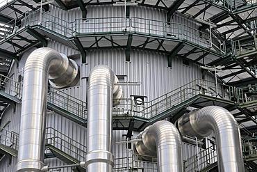 Manifolds, cooling tower, EVONIK STEAG coal power plant Walsum, Duisburg, Ruhrgebiet region, North Rhine-Westphalia, Germany, Europe