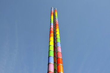 32 metre high statue trio by Max Bill at the Mercedes-Benz Museum, Stuttgart, Baden-Wuerttemberg, Germany, Europe