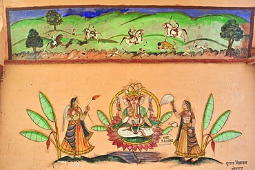 Painting on a wall with images of riders on a tiger hunt and Ganesha, the elephant god, on his throne flanked by magnificently dressed women, Bundi, Rajasthan, India, Asia