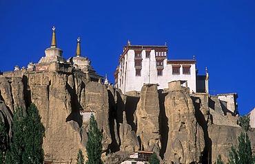Buddhist monastery and stupas Lamayuru on eroded cliffs, Ladakh, Himalaya, India, Asia