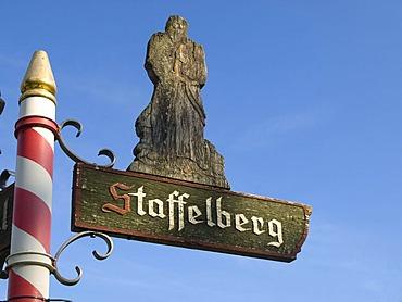 Sign, hiking trail to Mt. Staffelberg, Oberes Maintal area, Franconia, Bavaria, Germany, Europe