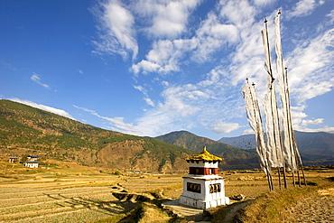 Landscape near Lhakhang temple, Chorten and prayer flags, Punakha, Bhutan, Kingdom of Bhutan, South Asian