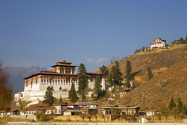 Paro Rimpong Dzong, the monastery in which the Hollywood film Little Buddha by Bernardo Bertolucci was filmed, Paro, Bhutan, Kingdom of Bhutan, South Asia