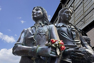 Friedrichstrasse railway station, memorial, sculpture created by Frank Meisler to remind of the role of the German railway company during the Holocaust, Berlin, Germany, Europe