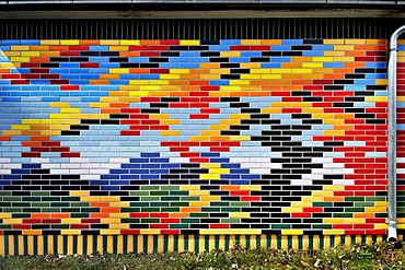 Multicoloured brick wall, Munich, Bavaria, Germany, Europe