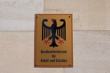 Sign with the federal eagle, Federal Ministry of Labour and Social Affairs, Berlin, Germany, Europe