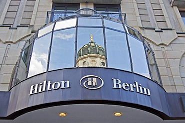 Hilton Hotel, Berlin, German Cathedral mirrored in windows, Mitte district, Berlin, Germany, Europe