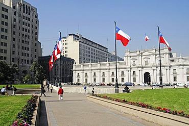 La Moneda building, government palace, Plaza Constitucion Square, Santiago de Chile, Chile, South America