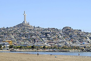 Cross, Cruz Milenio, coast, sea, city view, Coquimbo La Serena Norte Chico, northern Chile, Chile, South America