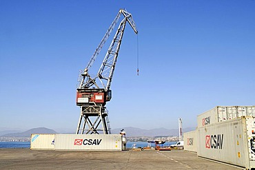 Crane, container, port, Coquimbo, La Serena, Norte Chico, northern Chile, Chile, South America