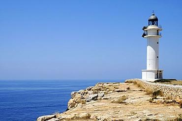 Lighthouse, cliffs, Cap de Barbaria, Mediterranean Sea, Formentera, Pityuses, Balearic Islands, Spain, Europe