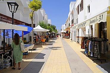 Shopping street, shops, market stalls, pedestrian zone, Sant Francesc, San Francisco Javier, Formentera, Pityuses, Balearic Islands, Spain, Europe