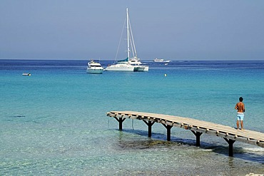 Sailboat, boat dock, pier, Mediterranean, Platja de Ses Illetes, La Savina, Formentera, Pityuses, Balearic Islands, Spain, Europe