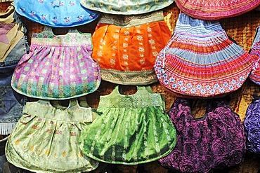 Colourful handbags, fabric, Las Dalias hippy market, Sant Carles de Peralta, San Carlos, Ibiza, Pityuses, Balearic Islands, Spain, Europe