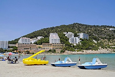 Boats, hotels, Cala Llonga, beach, Santa Eulalia des Riu, Ibiza, Pityuses, Balearic Islands, Spain, Europe