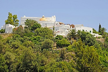 Puig de Missa, church and monastery on a hill above the town of Santa Eularia des Riu, Ibiza, Pityuses, Balearic Islands, Spain, Europe