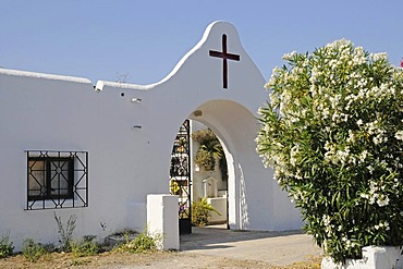 Entrance, cross, church, monastery, Puig de Missa mountain, Santa Eulalia des Riu, Ibiza, Pityuses, Balearic Islands, Spain, Europe