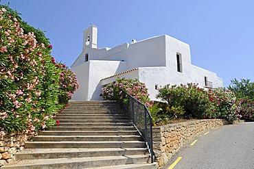 Stairs, Eglesia de San Llorenc de Balafia church, San Lorenzo, Sant Llorenc, Ibiza, Pityuses, Balearic Islands, Spain, Europe