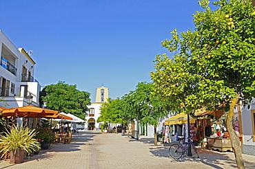 Pedestrian zone, sidewalk cafe, shops, church, Santa Gertrudis de Fruitera, Ibiza, Pityuses, Balearic Islands, Spain, Europe