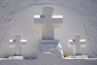 Three white crosses, church, monastery, Puig de Missa mountain, Santa Eulalia des Riu, Ibiza, Pityuses, Balearic Islands, Spain, Europe