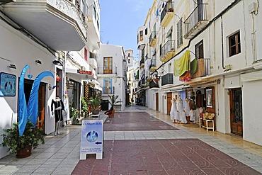 Shops, alleyway, Dalt Vila, historic old town, Unesco World Heritage Site, Ibiza, Pityuses, Balearic Island, Spain, Europe
