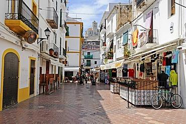 Streets, shops, Catedral de las Nostra Senyora Neus cathedral, Dalt Vila, historic old town, Unesco World Heritage Site, Ibiza, Pityuses, Balearic Island, Spain, Europe
