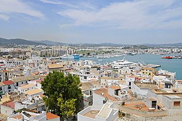 Port, overview, Dalt Vila, historic old town, Unesco World Heritage Site, Ibiza, Pityuses, Balearic Island, Spain, Europe