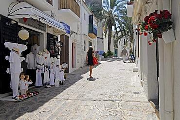 Shops, alleyway, Dalt Vila, historic district of Ibiza Town, Unesco World Heritage site, Eivissa, Ibiza, Pityuses, Balearic Islands, Spain, Europe