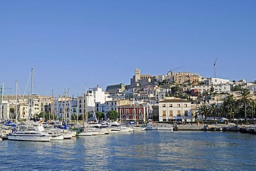 Boats, harbour, Nostra Senyora de las Neus cathedral, Dalt Vila, historic district of Ibiza Town, Unesco World Heritage site, Eivissa, Ibiza, Pityuses, Balearic Islands, Spain, Europe