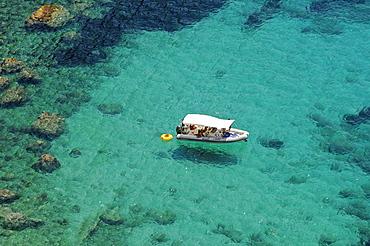 Single boat, bay, coast, Ibiza island, Pityuses, Balearic Islands, Spain, Europe