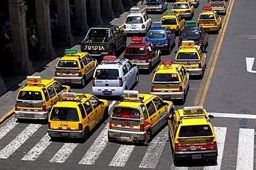 Taxis in a traffic jam, Arequipa, Peru, South America
