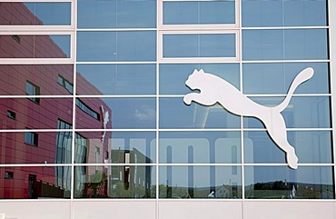 Company logo at the headquarters of the sports goods manufacturer PUMA AG, Herzogenaurach, Bavaria, Germany, Europe