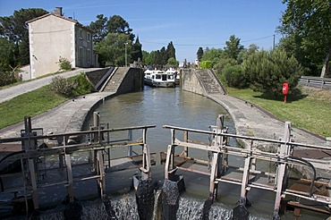 Tourist boat on Canal du Midi, France, Europe