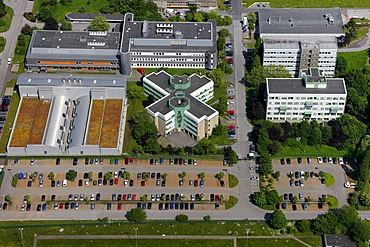 Aerial view, Bayer Schering research centre, Bayer Schering Pharma AG, a German pharmaceutical company, Aprather Weg street 18a, Wuppertal, North Rhine-Westphalia, Germany, Europe