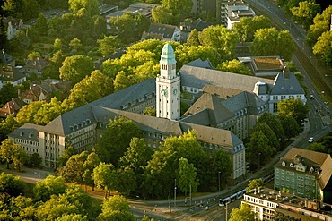 Aerial view, Buer district, district town hall, Gelsenkirchen, Ruhrgebiet area, North Rhine-Westphalia, Germany, Europe
