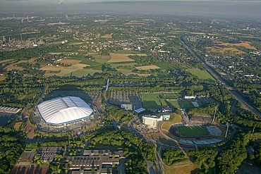 Aerial view, Schalkearena stadium, Arena auf Schalke stadium, Veltins-Arena stadium, stadium of a German Bundesliga club in the morning, Buer district, Gelsenkirchen, Ruhrgebiet area, North Rhine-Westphalia, Germany, Europe