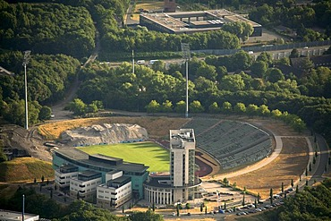 Aerial view, Buer district, Schalkearena stadium, Arena auf Schalke stadium, Veltins-Arena stadium, the former Parkstadion stadium being demolished, rehabilitation facility at the Parkstadion stadium in Gelsenkirchen, Gelsenkirchen, Ruhrgebiet area, North