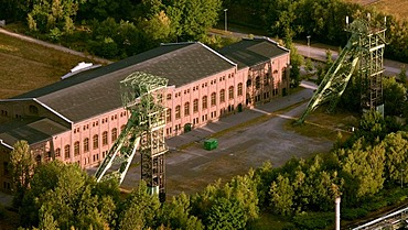 Aerial view, Zeche Zweckel, a disused mine, machine hall, venue of the Ruhrtriennale, a music and arts festival, Gladbeck, Ruhrgebiet area, North Rhine-Westphalia, Germany, Europe