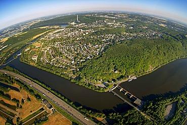 Aerial view, aqueduct on Harkortsee lake, Hensteysee lake, Ruhr river, Ruhrtal valley, Herdecke, Ruhrgebiet area, North Rhine-Westphalia, Germany, Europe