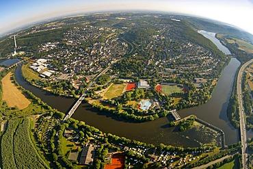 Aerial view, Harkortsee lake, Hensteysee lake, Ruhr river, Ruhrtal valley, Herdecke, Ruhrgebiet area, North Rhine-Westphalia, Germany, Europe