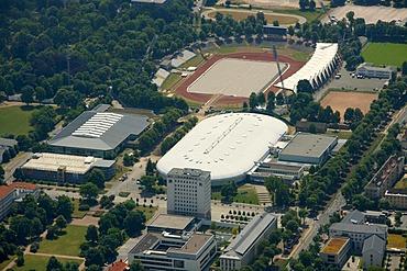Aerial view, Gunda-Niemann-Stirnemann indoor ice rink, Steigerwaldstadion stadium, Erfurt, Thuringia, Germany, Europe