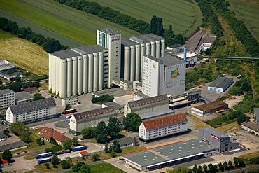 Aerial view, ergewa plant, Deuka factory, animal food silo, cooperative, Erfurt, Thuringia, Germany, Europe