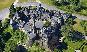 Aerial view, Loewenburg, Lions Castle, in Bergpark Wilhelmshoehe mountain park, Kassel, Hesse, Germany, Europe