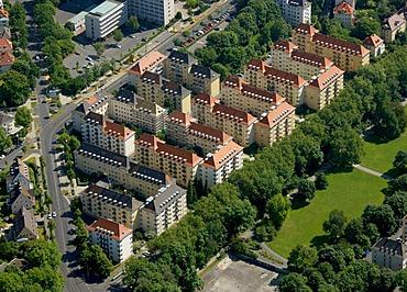 Aerial view, residential housing, Geysostrasse, Kassel, Hesse, Germany, Europe