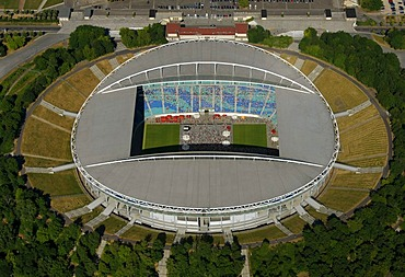 Aerial view, Zentralstadion stadium, Elsterbecken, public viewing at the stadium, Am Sportforum 3, Leipzig, Saxony, Germany, Europe