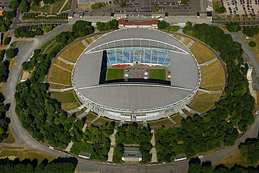 Aerial view, Zentralstadion stadium, Elsterbecken, public viewing at the stadium, Leipzig, Saxony, Germany, Europe